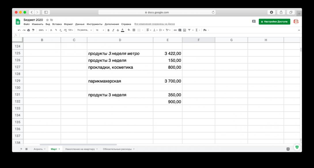 Семейный бюджет: таблица расходов