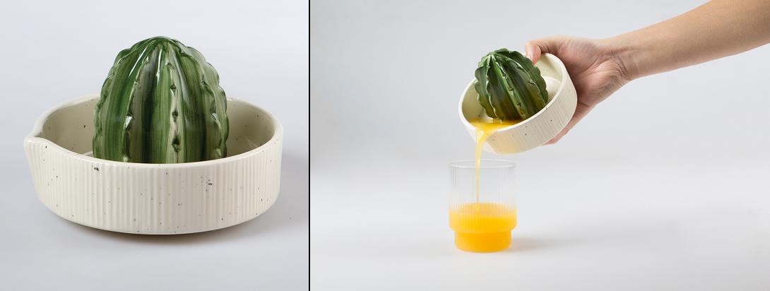 Необычная посуда: ручная соковыжималка в форме кактуса в горшке