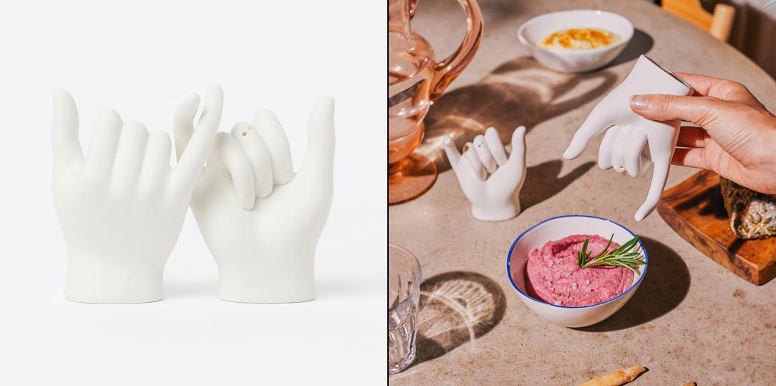 Керамические солонка и перечница в форме рук