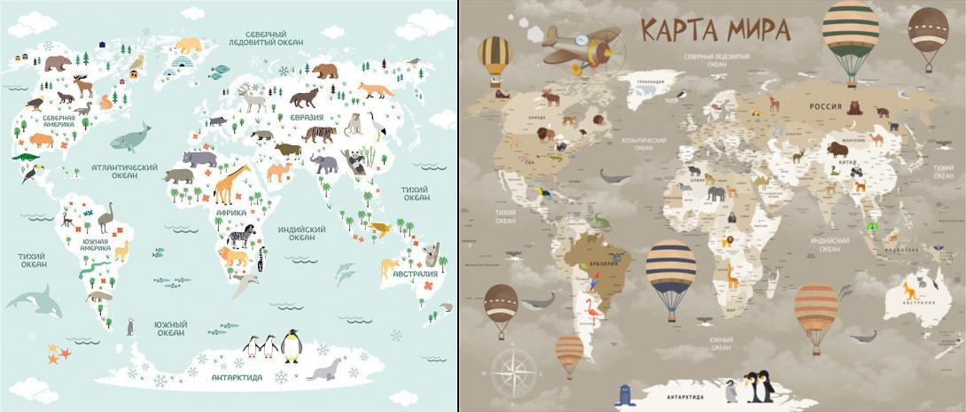 Обои в виде карты мира