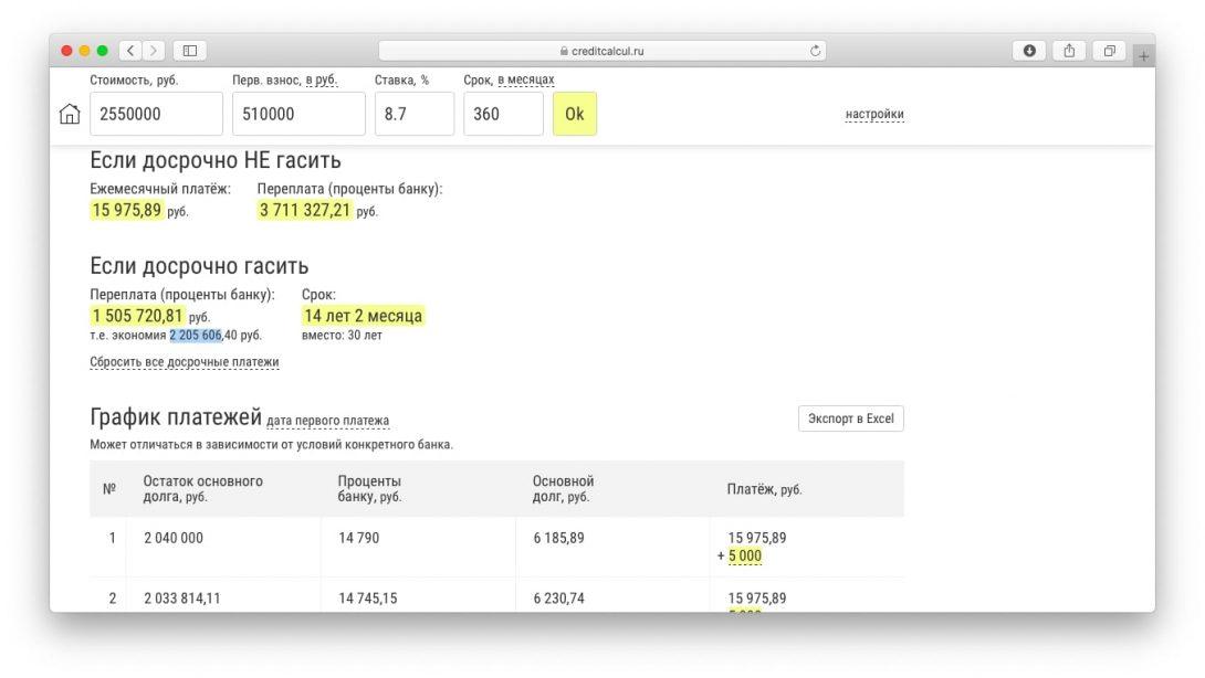 Калькулятор расчета процентов по ипотеке