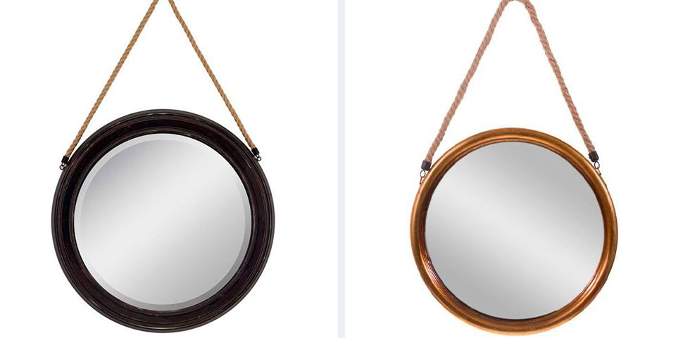 Круглое зеркало на веревке