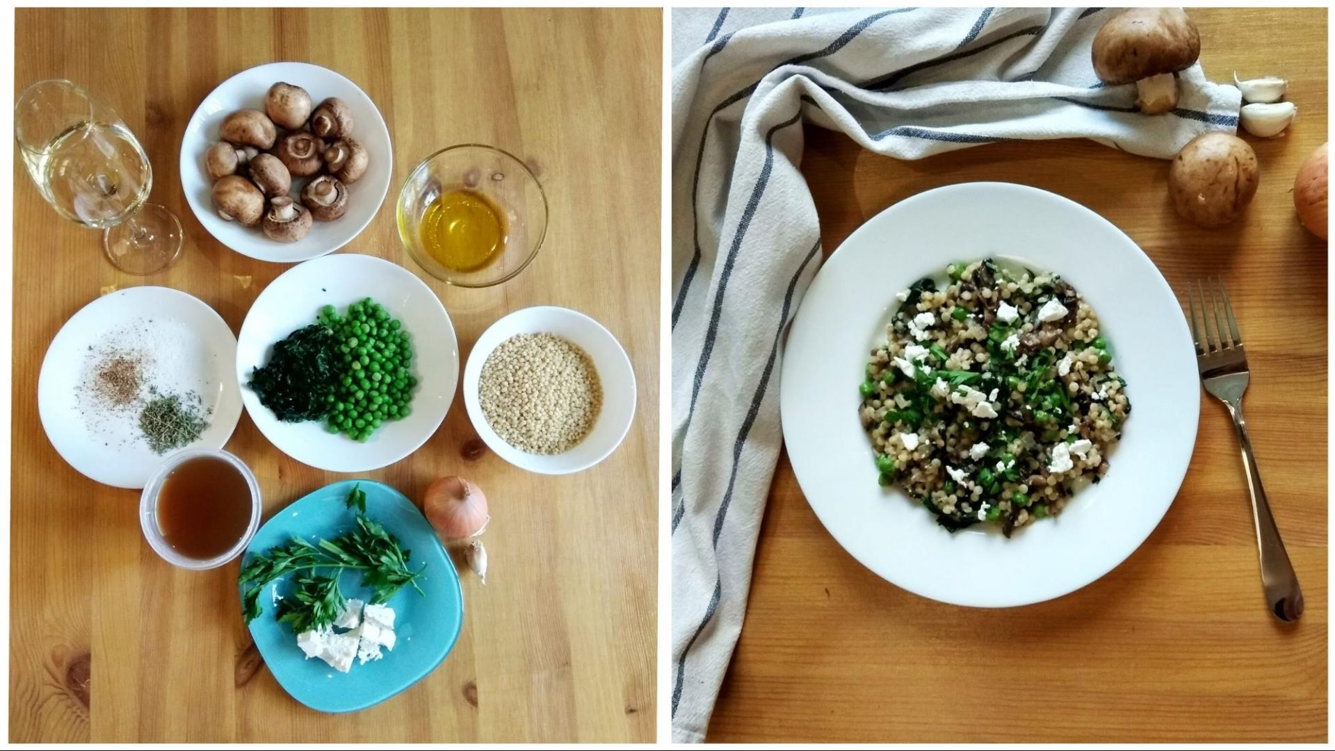 Паста с грибами, шпинатом и горошком