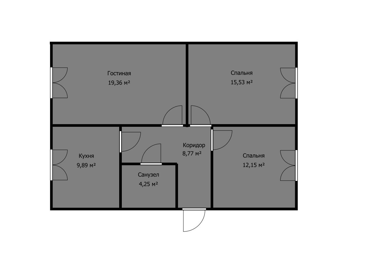 какую планировку выбрать, если на чертеже две спальни и гостинная